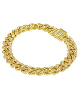 "Yellow Gold Diamond Miami Cuban Link Bracelet 10 MM 8.5"" 5.65 CT"