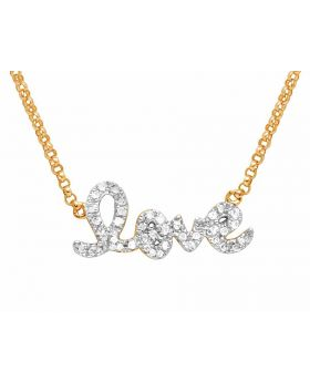 Ladies 14K Rose Gold Real Diamond Love Pendant Necklace 1/10 CT