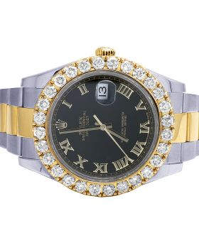 Rolex 18K Gold Steel Oyster Datejust II 116333 41MM Diamond Watch 8.5 Ct