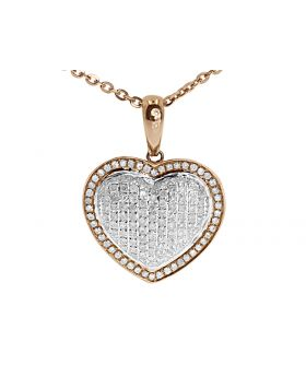 Pave Diamond Puffed Heart Pendant in 10k Rose Gold (1.0 ct)