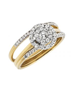 10K Yellow Gold Halo Flower Stackable Diamond Engagement Wedding Ring Set 1/2CT