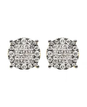 14K Yellow Gold Princess Diamond Cluster Stud Earrings 9mm 0.50ct
