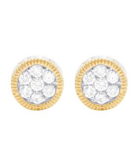 10K Yellow Gold 3D Fluted Frame Cluster Diamond Stud Earring 0.50 Ct 7MM