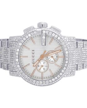 G-Chrono Gucci 44MM Silver Dial Diamond Watch YA101201 12.5 Ct