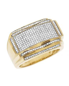 Men's 10K Yellow Gold Diamond Iced Curve Pinky Fashion Ring 0.75 CT 15MM