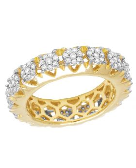 14K Yellow Gold Real Diamond Cluster Prong Eternity Wedding Band Ring 1 1/2 CT 7MM