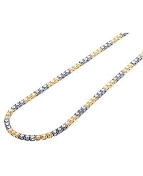 "14K Two-Tone Gold 10 Pointer Tennis Chain 4MM 22"" 13.69CT"