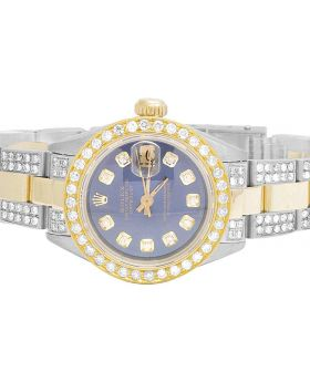 Ladies Rolex Datejust 18K/ Steel Two Tone 26MM Diamond Watch (6.0 Ct)