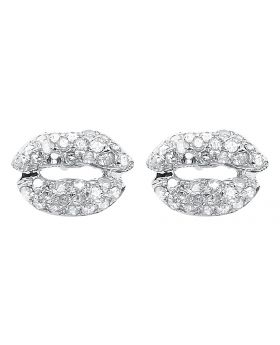 White Gold and Diamond Lip Studs Earrings (0.50 ct)