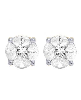 14K Yellow Gold Real Diamond Marquise Solitaire Aleena Stud Earrings 1.4 CT