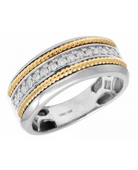 10K Two Tone Gold Real Diamond Rope Men's Band Ring .33ct