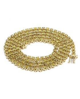10K Yellow Gold Toni Set Diamond Canary Tennis Chain Necklace 7.5 CT 22""