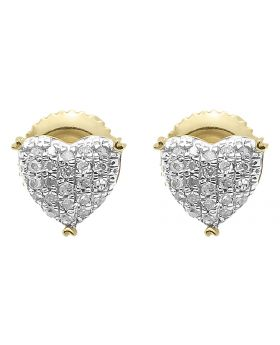 7mm Pave Diamond Puffed Heart Earrings in 10k Yellow Gold (0.20 ct)