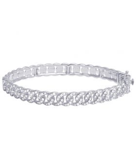 Ladies 14K White Gold Real Diamond Cuban Bangle Bracelet 3.35 CT 7MM