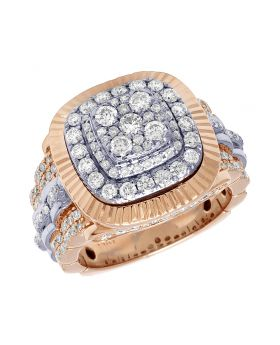Men's 3D 14K Two-Tone Real Diamond Pinky Ring with Fluted Bezel 2.75 CT