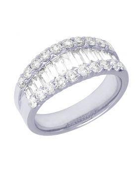 18K Ladies White Gold Solitaire Baguette Diamond Band 9MM 3.2 CT