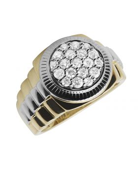 Men's 10K Two Tone Gold Step Shank Cluster Diamond Pinky Ring 1.0ct.