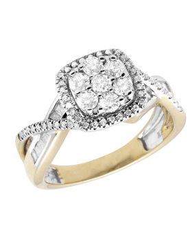 Ladies 10K Yellow Gold Real Baguette Diamond Infinity Engagement Ring 1.0ct