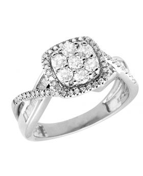 Ladies 10K White Gold Real Baguette Diamond Infinity Engagement Ring 1.0ct