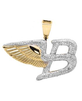 "10K Yellow Gold Bentley Flying B Logo 1.4"" Diamond Pendant Charm 1.50CT"