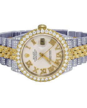 Rolex Datejust 18K/ Steel 36MM White Dial Diamond Watch 13.0 Ct