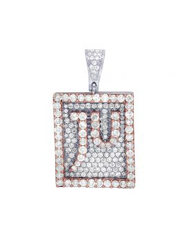 Mens 10K Gold Two Tone Real Diamond JU Jewelry Unlimited Signature Pendant 3.5CT