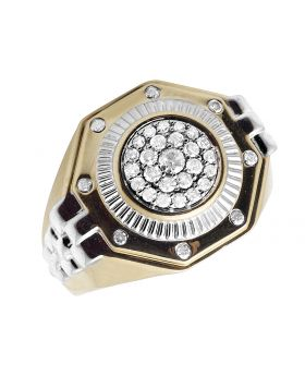 Men's 10K Two Tone Gold  Real Diamond Engagement Ring 0.70ct