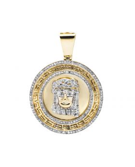 10K Yellow Gold Jesus Head Greek Key 1.75 Inch Medallion Charm Pendant 1.0ct