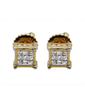 14K Yellow Gold Square Kite Diamond Stud Earring 0.25ct 5MM