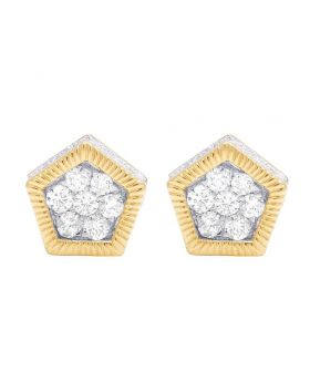 10K Yellow Gold Diamond 3D Pentagon Cluster Stud Earring 0.75 Ct 9MM