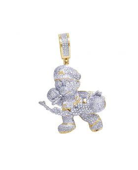 "Mens 10K Yellow Gold Real Diamond Mario Pendant 2"" 1.15CT"