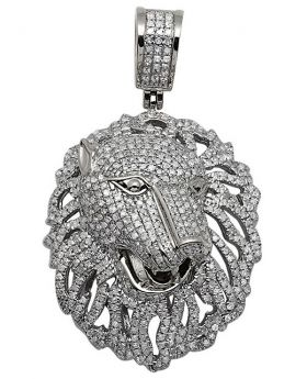 10K White Gold Panther Genuine Diamond Pendant Charm 2.5 Ct 1.75""