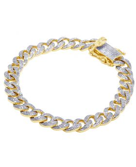Diamond Miami Cuban Bracelet in 10K Yellow Gold 3.5Ct 9mm 8.25""