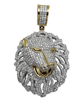 10K Yellow Gold Panther Genuine Diamond Pendant Charm 2.5 Ct 1.75""