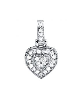 "10K White Gold Heart White Diamond 1/2"" Pendant Charm 0.30ct."