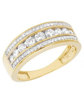 14K Yellow Gold Real Diamond Men's Channel Band Ring 1 1/3 ct 8MM