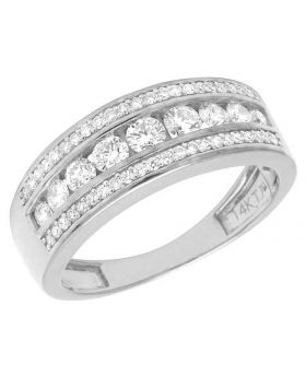 14K White Gold Real Diamond Men's Channel Band Ring 1 1/3 ct 8MM