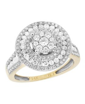 Ladies 14K Yellow Gold Diamond Round Cluster Engagement Wedding Ring 1 Ct 15MM