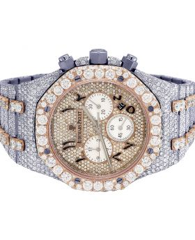 Audemars Piguet Royal Oak Steel 18K/Steel 41MM Chrono Diamond Watch 35.5 Ct