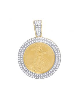 10K Yellow Gold Mens 2 Row Liberty Coin Diamond Pendant .45 CT