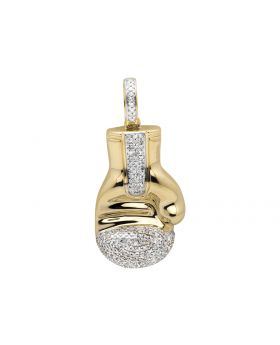 "10K Yellow Gold Three Dimension Boxing Gloves 1.5"" Diamond Pendant Charm 1.0CT"