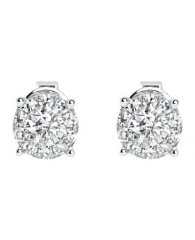 5mm Illusion Set Diamond Earrings in 14k White Gold (0.64 ct)