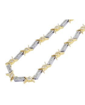 """Two Tone Yellow White Gold Barbed Wire Thorn Baguette Diamond Chain 22"""" 14.6 CT"""