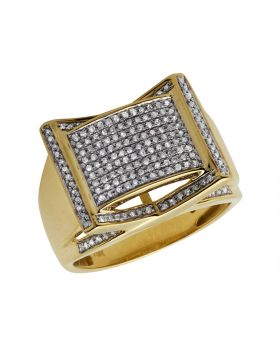 10K Yellow Gold Rectangle Frame Diamond Statement Ring 0.75ct