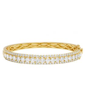 14K Yellow Gold 20 Pts Solitaire Real Diamond Bangle Bracelet 6.9 CT