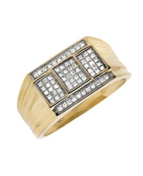 10K Yellow Gold Cube Step Composite Diamond Ring Band 0.40ct.