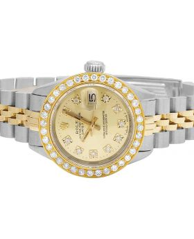 Ladies Rolex Datejust 18K/ Steel Two Tone 26MM Diamond Watch (2.0 Ct)