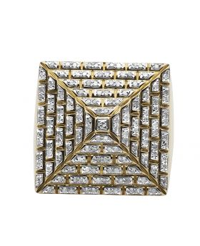 10K Yellow Gold 4-Sided Diamond Pyramid Ring 1.0ct