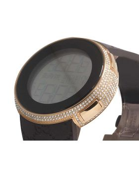 I-Gucci Digital Rose Case on Brown PVD Diamond Watch 4.0 Ct YA114209