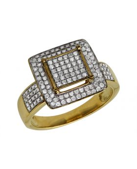 10K Yellow Gold Square Frame Diamond Statement Ring 0.51ct 12mm